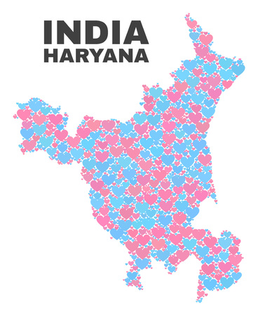 Mosaic Haryana State map of lovely hearts in pink and blue colors isolated on a white background. Lovely heart collage in shape of Haryana State map. Abstract design for Valentine decoration.