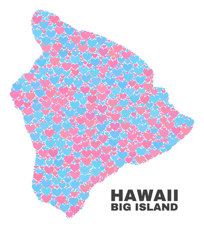 Mosaic Hawaii Big Island map of valentine hearts in pink and blue colors isolated on a white background. Lovely heart collage in shape of Hawaii Big Island map.
