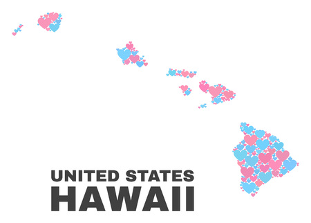 Mosaic Hawaii State map of love hearts in pink and blue colors isolated on a white background. Lovely heart collage in shape of Hawaii State map. Abstract design for Valentine illustrations.