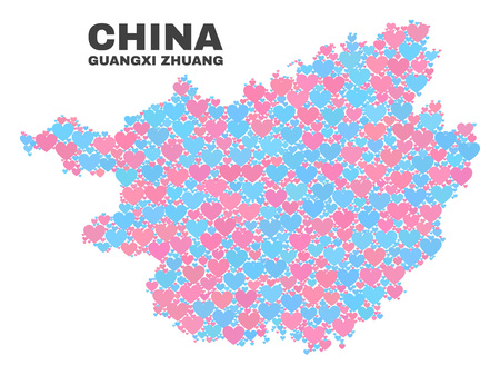 Mosaic Guangxi Zhuang Region map of love hearts in pink and blue colors isolated on a white background. Lovely heart collage in shape of Guangxi Zhuang Region map.