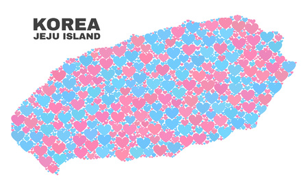 Mosaic Jeju Island map of love hearts in pink and blue colors isolated on a white background. Lovely heart collage in shape of Jeju Island map. Abstract design for Valentine illustrations. Illustration