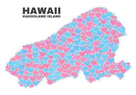 Mosaic Kahoolawe Island map of valentine hearts in pink and blue colors isolated on a white background. Lovely heart collage in shape of Kahoolawe Island map. Abstract design for Valentine decoration. Illustration