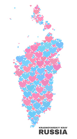 Mosaic Krasnoyarskiy Kray map of lovely hearts in pink and blue colors isolated on a white background. Lovely heart collage in shape of Krasnoyarskiy Kray map.