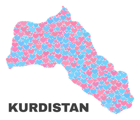 Mosaic Kurdistan map of valentine hearts in pink and blue colors isolated on a white background. Lovely heart collage in shape of Kurdistan map. Abstract design for Valentine illustrations.