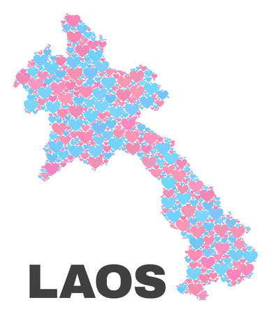 Mosaic Laos map of love hearts in pink and blue colors isolated on a white background. Lovely heart collage in shape of Laos map. Abstract design for Valentine illustrations. Ilustração