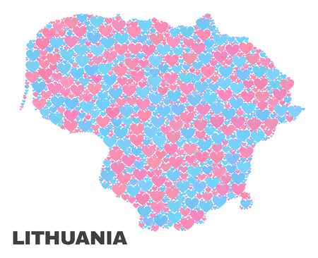 Mosaic Lithuania map of valentine hearts in pink and blue colors isolated on a white background. Lovely heart collage in shape of Lithuania map. Abstract design for Valentine illustrations.