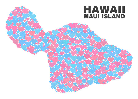 Mosaic Maui Island map of valentine hearts in pink and blue colors isolated on a white background. Lovely heart collage in shape of Maui Island map. Abstract design for Valentine illustrations.