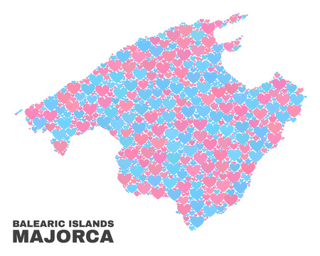 Mosaic Majorca map of lovely hearts in pink and blue colors isolated on a white background. Lovely heart collage in shape of Majorca map. Abstract design for Valentine illustrations.