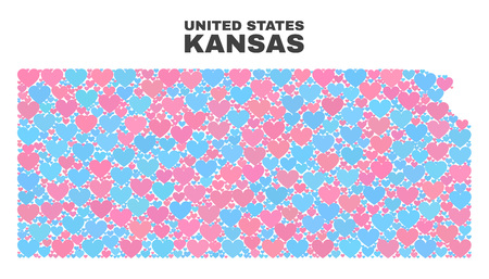 Mosaic Kansas State map of valentine hearts in pink and blue colors isolated on a white background. Lovely heart collage in shape of Kansas State map. Abstract design for Valentine decoration.