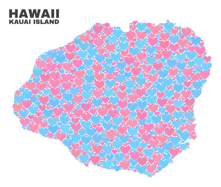 Mosaic Kauai Island map of lovely hearts in pink and blue colors isolated on a white background. Lovely heart collage in shape of Kauai Island map. Abstract design for Valentine decoration. Illustration