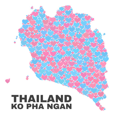 Mosaic Ko Pha Ngan map of lovely hearts in pink and blue colors isolated on a white background. Lovely heart collage in shape of Ko Pha Ngan map. Abstract design for Valentine illustrations. Stock Vector - 125300618