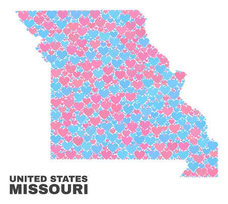 Mosaic Missouri State map of love hearts in pink and blue colors isolated on a white background. Lovely heart collage in shape of Missouri State map. Abstract design for Valentine decoration.