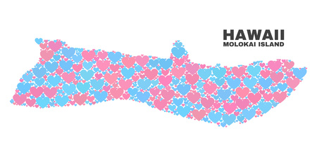 Mosaic Molokai Island map of lovely hearts in pink and blue colors isolated on a white background. Lovely heart collage in shape of Molokai Island map. Abstract design for Valentine illustrations. Illustration