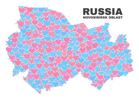 Mosaic Novosibirsk Region map of valentine hearts in pink and blue colors isolated on a white background. Lovely heart collage in shape of Novosibirsk Region map.