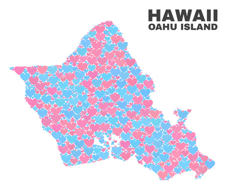 Mosaic Oahu Island map of lovely hearts in pink and blue colors isolated on a white background. Lovely heart collage in shape of Oahu Island map. Abstract design for Valentine decoration. Illustration
