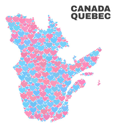 Mosaic Quebec Province map of lovely hearts in pink and blue colors isolated on a white background. Lovely heart collage in shape of Quebec Province map. Abstract design for Valentine decoration.