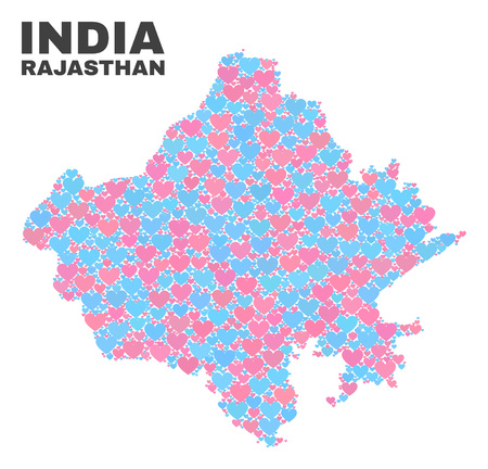 Mosaic Rajasthan State map of lovely hearts in pink and blue colors isolated on a white background. Lovely heart collage in shape of Rajasthan State map. Abstract design for Valentine illustrations. 일러스트