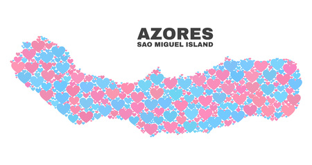 Mosaic Sao Miguel Island map of valentine hearts in pink and blue colors isolated on a white background. Lovely heart collage in shape of Sao Miguel Island map.