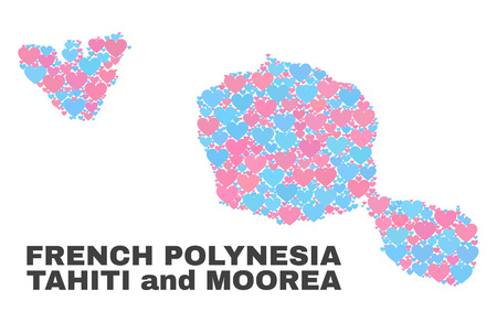 Mosaic Tahiti and Moorea islands map of valentine hearts in pink and blue colors isolated on a white background. Lovely heart collage in shape of Tahiti and Moorea islands map.  イラスト・ベクター素材