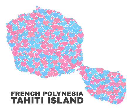 Mosaic Tahiti Island map of valentine hearts in pink and blue colors isolated on a white background. Lovely heart collage in shape of Tahiti Island map. Abstract design for Valentine illustrations.