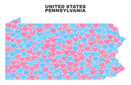 Mosaic Pennsylvania State map of love hearts in pink and blue colors isolated on a white background. Lovely heart collage in shape of Pennsylvania State map. Abstract design for Valentine decoration.