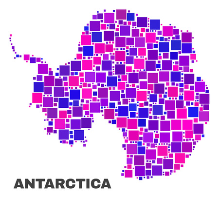 Mosaic Antarctica continent map isolated on a white background. Vector geographic abstraction in pink and violet colors. Mosaic of Antarctica continent map combined of random square items.