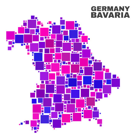 Mosaic Bavaria Land map isolated on a white background. Vector geographic abstraction in pink and violet colors. Mosaic of Bavaria Land map combined of random square items.