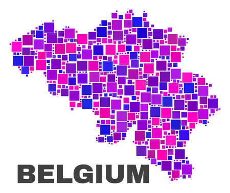 Mosaic Belgium map isolated on a white background. Vector geographic abstraction in pink and violet colors. Mosaic of Belgium map combined of scattered small squares.