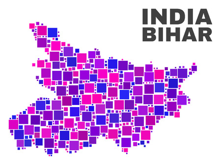 Mosaic Bihar State map isolated on a white background. Vector geographic abstraction in pink and violet colors. Mosaic of Bihar State map combined of random square elements.