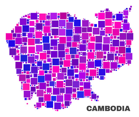 Mosaic Cambodia map isolated on a white background. Vector geographic abstraction in pink and violet colors. Mosaic of Cambodia map combined of scattered small squares.