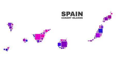 Mozaika Mapa Wyspy Kanaryjskie samodzielnie na białym tle. Abstrakcja geograficzna wektor w kolorach różowym i fioletowym. Mapa Mozaika Wysp Kanaryjskich złożona z rozproszonych elementów kwadratowych.