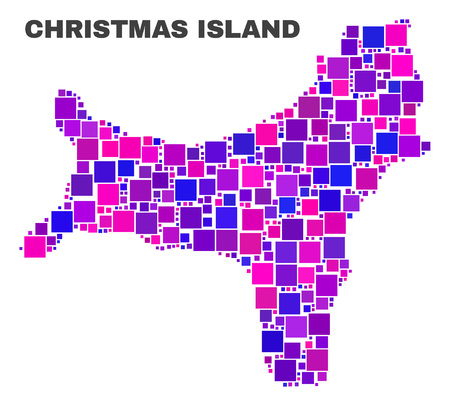 Mosaic Christmas Island map isolated on a white background. Vector geographic abstraction in pink and violet colors. Mosaic of Christmas Island map combined of scattered square elements.