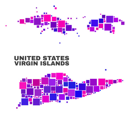 Mosaic American Virgin Islands map isolated on a white background. Vector geographic abstraction in pink and violet colors. Mosaic of American Virgin Islands map combined of scattered small squares.