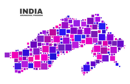 Mosaic Arunachal Pradesh State map isolated on a white background. Vector geographic abstraction in pink and violet colors. Mosaic of Arunachal Pradesh State map combined of random small squares. Illustration