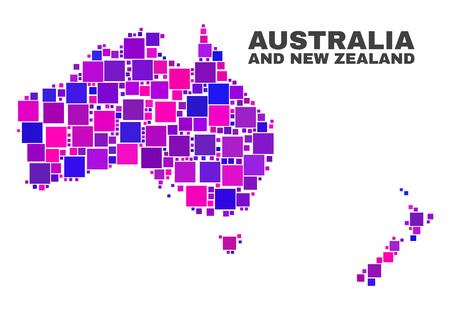 Mosaic Australia and New Zealand map isolated on a white background. Vector geographic abstraction in pink and violet colors.