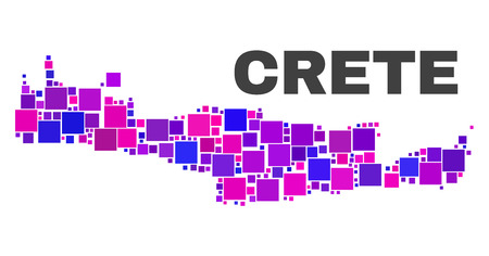Mosaic Crete map isolated on a white background. Vector geographic abstraction in pink and violet colors. Mosaic of Crete map combined of scattered square elements.