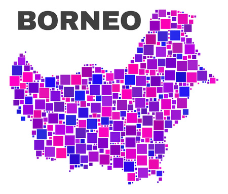 Mosaic Borneo map isolated on a white background. Vector geographic abstraction in pink and violet colors. Mosaic of Borneo map combined of scattered small squares.