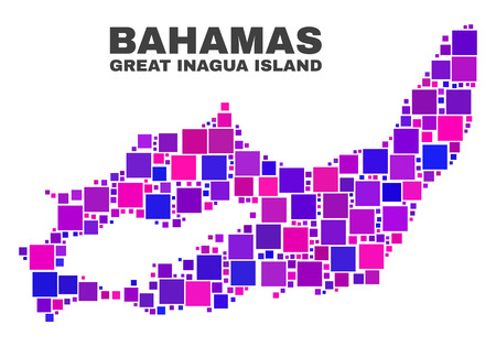 Mosaic Great Inagua Island map isolated on a white background. Vector geographic abstraction in pink and violet colors. Mosaic of Great Inagua Island map combined of scattered square elements.