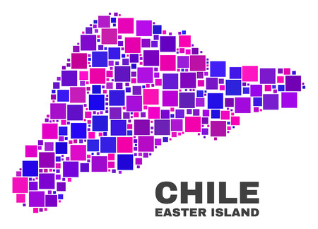 Mosaic Easter Island map isolated on a white background. Vector geographic abstraction in pink and violet colors. Mosaic of Easter Island map combined of random square elements.