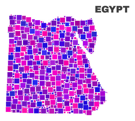 Mosaic Egypt map isolated on a white background. Vector geographic abstraction in pink and violet colors. Mosaic of Egypt map combined of scattered small squares.