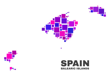 Mosaic Balearic Islands map isolated on a white background. Vector geographic abstraction in pink and violet colors. Mosaic of Balearic Islands map combined of scattered small squares.