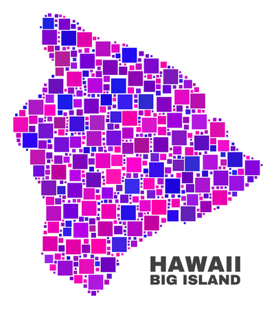 Mosaic Hawaii Big Island map isolated on a white background. Vector geographic abstraction in pink and violet colors. Mosaic of Hawaii Big Island map combined of random small squares.