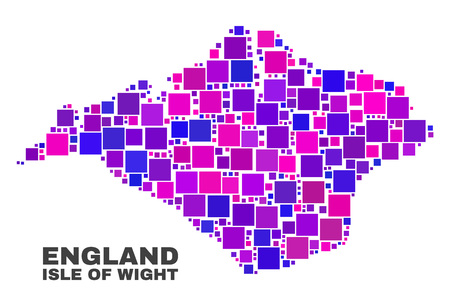 Mosaic Isle of Wight map isolated on a white background. Vector geographic abstraction in pink and violet colors. Mosaic of Isle of Wight map combined of scattered small squares.