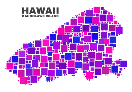 Mosaic Kahoolawe Island map isolated on a white background. Vector geographic abstraction in pink and violet colors. Mosaic of Kahoolawe Island map combined of scattered square items. Illustration