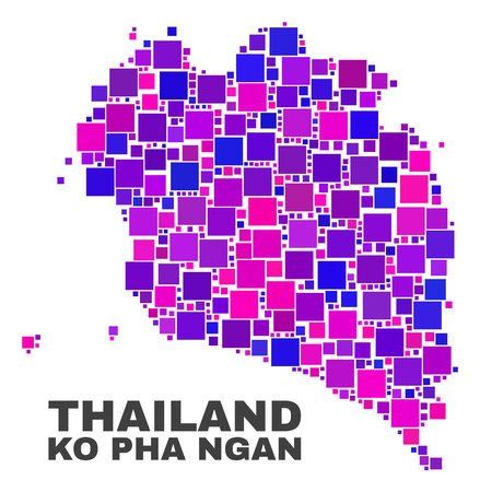 Mosaic Ko Pha Ngan map isolated on a white background. Vector geographic abstraction in pink and violet colors. Mosaic of Ko Pha Ngan map combined of random square elements.