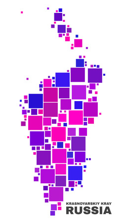 Mosaic Krasnoyarskiy Kray map isolated on a white background. Vector geographic abstraction in pink and violet colors. Mosaic of Krasnoyarskiy Kray map combined of random small squares.
