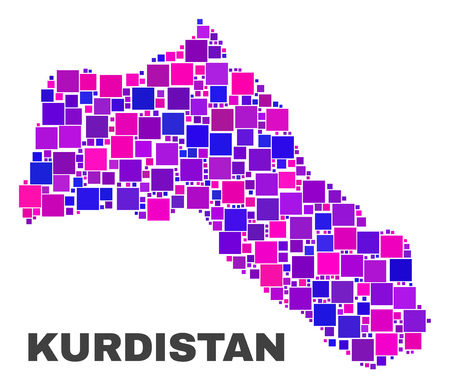 Mosaic Kurdistan map isolated on a white background. Vector geographic abstraction in pink and violet colors. Mosaic of Kurdistan map combined of random square items.