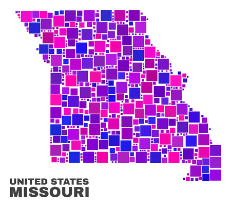 Mosaic Missouri State map isolated on a white background. Vector geographic abstraction in pink and violet colors. Mosaic of Missouri State map combined of scattered square elements.