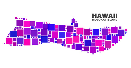 Mosaic Molokai Island map isolated on a white background. Vector geographic abstraction in pink and violet colors. Mosaic of Molokai Island map combined of scattered square elements. Illustration