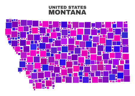 Mosaic Montana State map isolated on a white background. Vector geographic abstraction in pink and violet colors. Mosaic of Montana State map combined of scattered square elements.